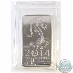 2014 NTR Year of the Horse 10oz 999 Fine Silver Bar (TAX Exempt). Sealed in original packaging.