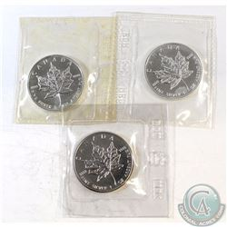 1988, 1991, 1994 Canada $5 1oz Fine Silver Maple Leafs (TAX Exempt). Coins come in the original RCM