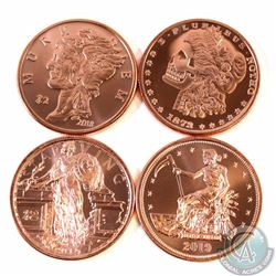 Lot of Zombie 1oz Fine Copper Rounds (TAX Exempt). You will receive 4 different designs. 4pcs