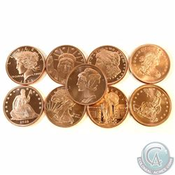 Lot of Liberty 1oz Fine Copper Rounds (TAX Exempt). You will receive 9 different designs. 9pcs