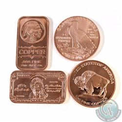 Lot of Indian Head 1oz Fine Copper Bars & Rounds (TAX Exempt). You will receive 4 different designs.