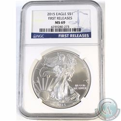 2015 United States $1 Silver Eagle NGC Certified MS69 First Release (Tax Exempt)