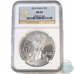 2014 United States $1 Silver Eagle NGC Certified MS69 (Tax Exempt) West Point Mint *Star Label