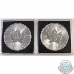 2015 & 2016 Canada $5 1oz Fine Silver Maples (TAX Exempt). Coins come encapsulated. 2pcs.
