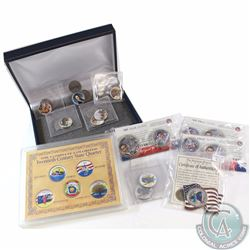 Group Lot of Coloured USA Commemorative Coins. You will receive 3x 2008 Obama Half Dollar and Quarte