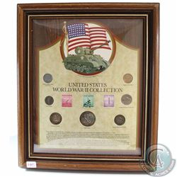 United States World War II Collection in Wooden Frame. This 7-coin and Stamp Set features the 1-cent
