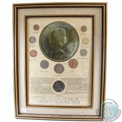 Great Britain 'Pre Decimal Coinage of Queen Elizabeth II' Collection in Wood frame. This 10 coin Set