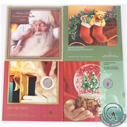 4x Canada Holiday 7-Coin Gift Sets with Commemorative Coloured 25-cents. 2004 & 2005 are still seale