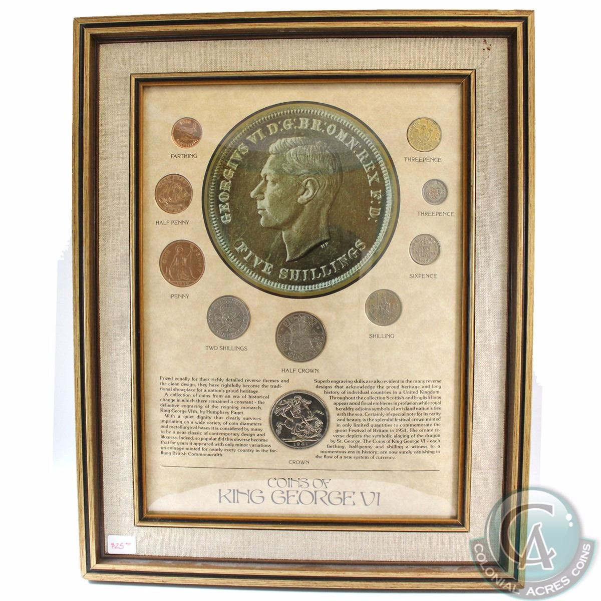 Great Britain \'Coins of King George VI\' Collection in Wood frame ...