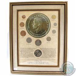 Great Britain 'Coins of King George VI' Collection in Wood frame. This 10-coin Set depicts the desig