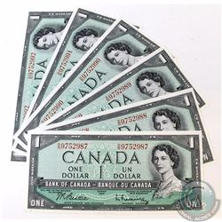 6 x 1954 $1.00 Notes with Beattie-Rasminsky Signatures and Consecutive Serial Numbers. 6 pcs