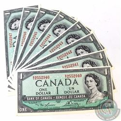 8 x 1954 $1.00 Notes with Lawson-Bouey Signatures and Consecutive Serial Numbers. 8 pcs