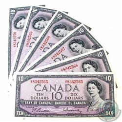 6 x 1954 $10.00 Notes with Beattie-Rasminsky Signatures and Consecutive Serial Numbers. 6 pcs.