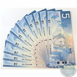10 x 2006 Replacement $5.00 Notes with Prefix HOL(7.840M-8.000M) and Consecutive Serial Numbers. 10