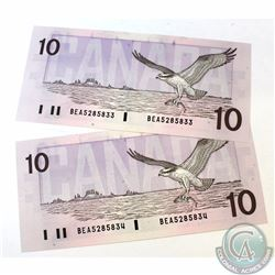 2 x 1989 $10.00 Notes with Bonin-Thiessen Signatures and Consecutive Serial Numbers. 2 pcs.