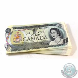 67 Different 1973 $1.00 Notes with 67 different Prefixes all in UNC Condition. 67 pcs.