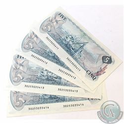 4 x 1979 $5.00 Notes with Lawson-Bouey Signatures and Consecutive Serial Numbers. 4 pcs.