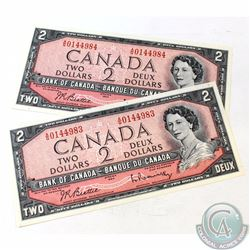 2 x 1954 Changeover $2.00 Notes with Beattie-Rasminsky Signatures, A/G Prefix and Consecutive Serial