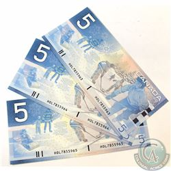 3 x 2002 Replacement $5.00 Notes with Prefix HOL(7.840M-8.000M) and Consecutive Serial Numbers. 3 pc