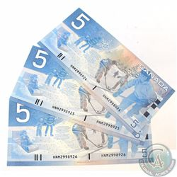 3 x 2002 Replacement $5.00 Notes with Prefix HNM(2.720M-3.000M) and Consecutive Serial Numbers. 3 pc