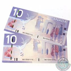 2 x 2005 Replacement $10.00 Notes with Prefix BEY(3.460M-3.580M) and Consecutive Serial Numbers. 2 p