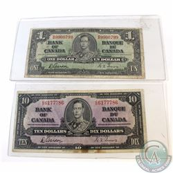 2 x 1937 Series Banknote. You will receive one $1 and one $10. 2 pcs.