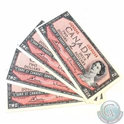 4 x 1954 Changeover $2.00 Notes with Bouey-Rasminsky Signatures, L/G Prefix and Consecutive Serial N