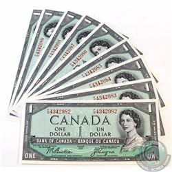 9 x 1954 Changeover $1.00 Notes with Beattie-Coyne Signatures, F/N Prefix and Consecutive Serial Num