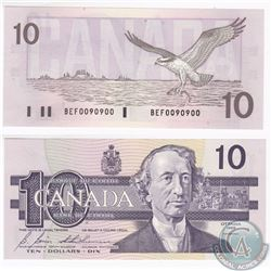 1989 2 digit RADAR $10.00 Note with Serial Number BEF0090900 in UNC Condition.