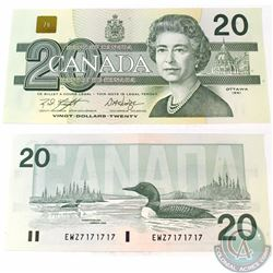 1991 2 digit RADAR $20.00 Note with Serial Number EWZ7171717 in Almost UNC Condition.