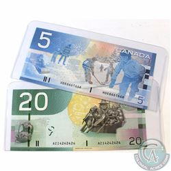 2 x 2 digit RADAR Journey Series Banknotes. Notes include 1 x 2002 $5 and 1 x 2004 $20. Both notes a