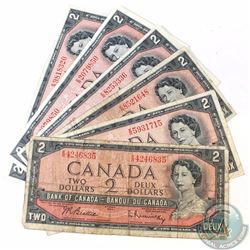 6 x 1954 $2.00 Notes with Scarce E/R Prefix. 6 pcs