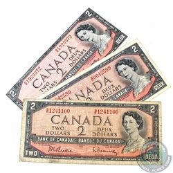 3 x 1954 $2.00 Test Notes with Prefix S/R and Beattie-Rasminsky Signatures. 3 pcs