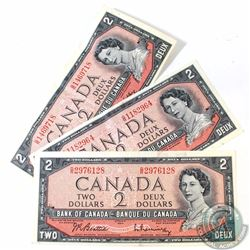 3 x 1954 $2.00 Notes with Scarce G/R Prefix. 3 pcs.