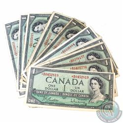 10 x 1954 Replacement $1.00 Notes with Prefix *B/M with no Face Plate Number. 10 pcs