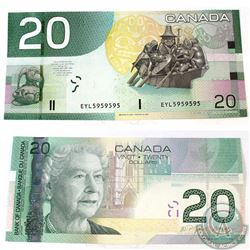 2004 2 digit RADAR $20.00 Note with Serial Number EYL5959595 in Almost UNC Condition.
