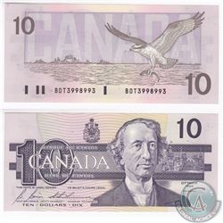 1989 3 digit RADAR $10.00 Notes with Serial Number BDT3998993 in UNC Condition.