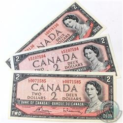 3 x 1954 Changeover $2.00 Notes with Bouey-Rasminsky Signatures and L/G Prefix. 3 pcs