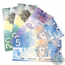 5 x Journey Series Banknotes from the Bank of Canada. Included are 2 x 2002 $5, 1 x 2001 $10 and 2 x