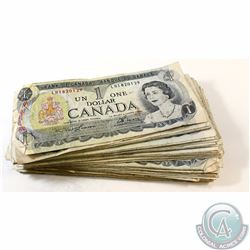 80 x 1973 $1.00 Notes from the Bank of Canada. 80 pcs