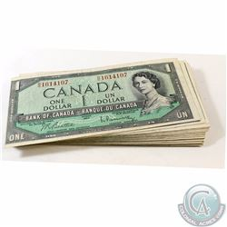 50 x 1954 $1.00 Notes from the Bank of Canada. 50 pcs.