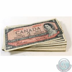50 x 1954 $2.00 Notes from the Bank of Canada. 50 pcs.