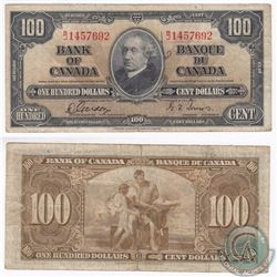 1937 $100.00 Note from the Bank of Canada with Gordon-Towers Signatures.