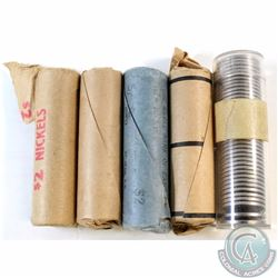 Lot of 5x Canada 5-cent Rolls of 40pcs Dated 2x 1961, 1963, 1964 & 1968 (as stated on holders). 5 ro
