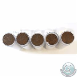 Estate Lot of 5x Canada 1-cent Rolls of 50pcs Dated 1920, 1929, 1932, 1933 & 1936 (as stated on hold