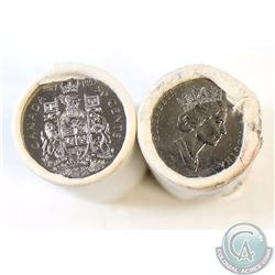 1991 & 1992 Canada 50-cent Original Rolls of 25pcs (1991 is scuffed with writing). 2 rolls