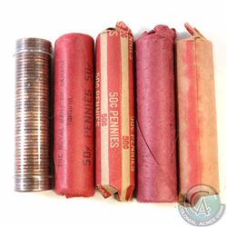 Estate Lot of 5x Canada 1-cent Rolls of 50pcs Dated 1960, 1964, 1966, 1967 & 1968 (as stated on hold