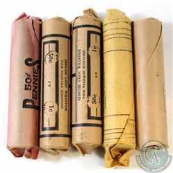Estate Lot of 5x Canada 1-cent Rolls of 50pcs Dated 1950, 1951, 1952, 1954 & 1958. 5pcs