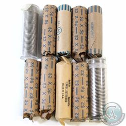 Estate Lot of 10x Canada 5-cent Rolls of 50pcs. The dates appear to be mostly 1960s & 1970s, with so