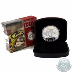 2013 Australia $1 Year of the Snake 1oz Fine Silver Proof Coin (Outer sleeve has lightly dented corn
